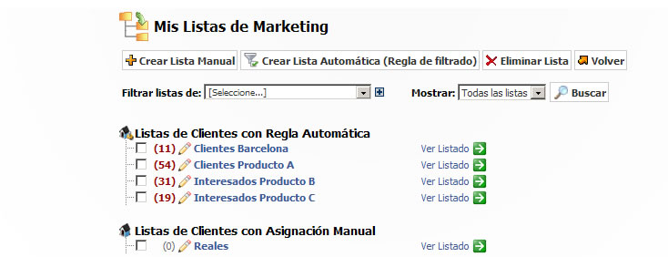 Listas de marketing