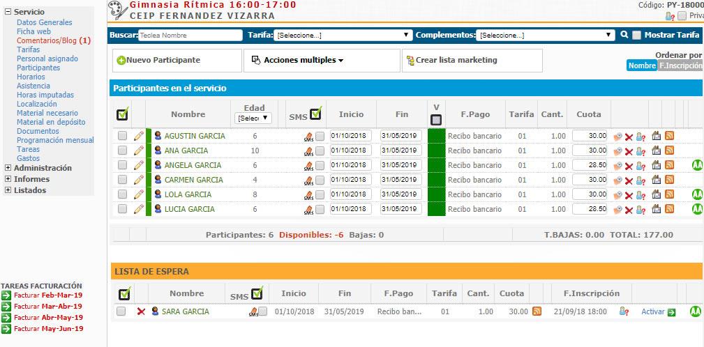 participantes, listas de espera, inscripciones  en actividades de OCIO Y TIEMPO LIBRE